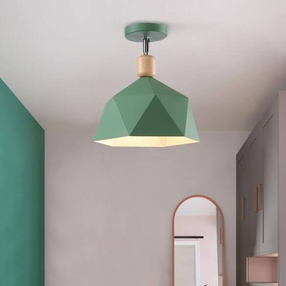 Green geometric semi-flush ceiling light