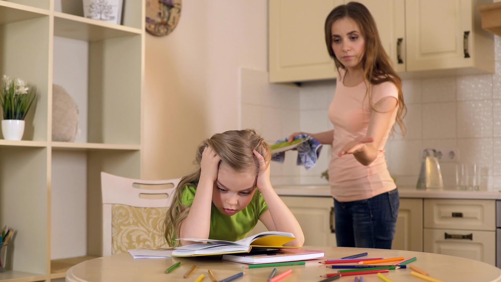 Mom motioning to daughter in a frustrating manner