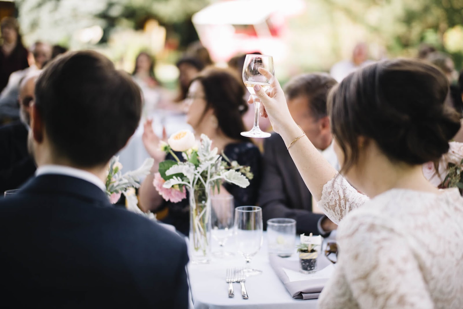Bride toasting to a beautiful speech