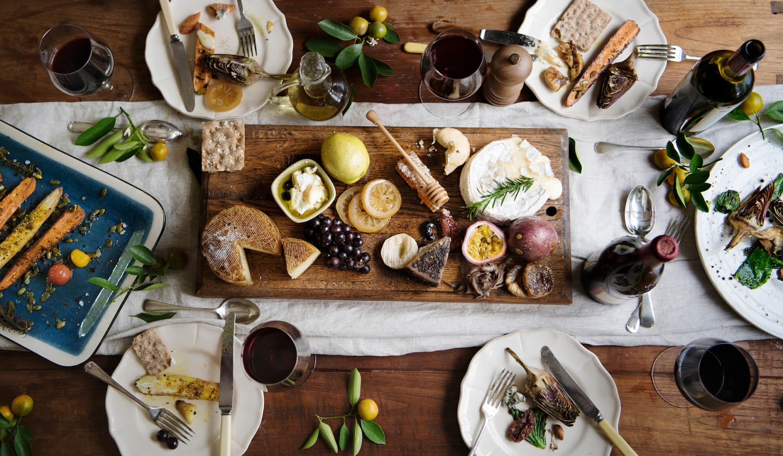 Birds eye view of family-style wedding appetizers