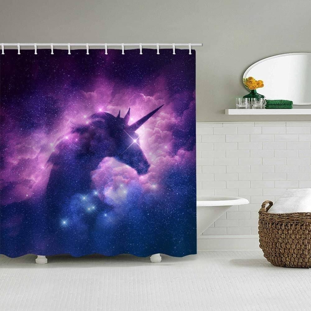 Bathroom with a purple unicorn shower curtain