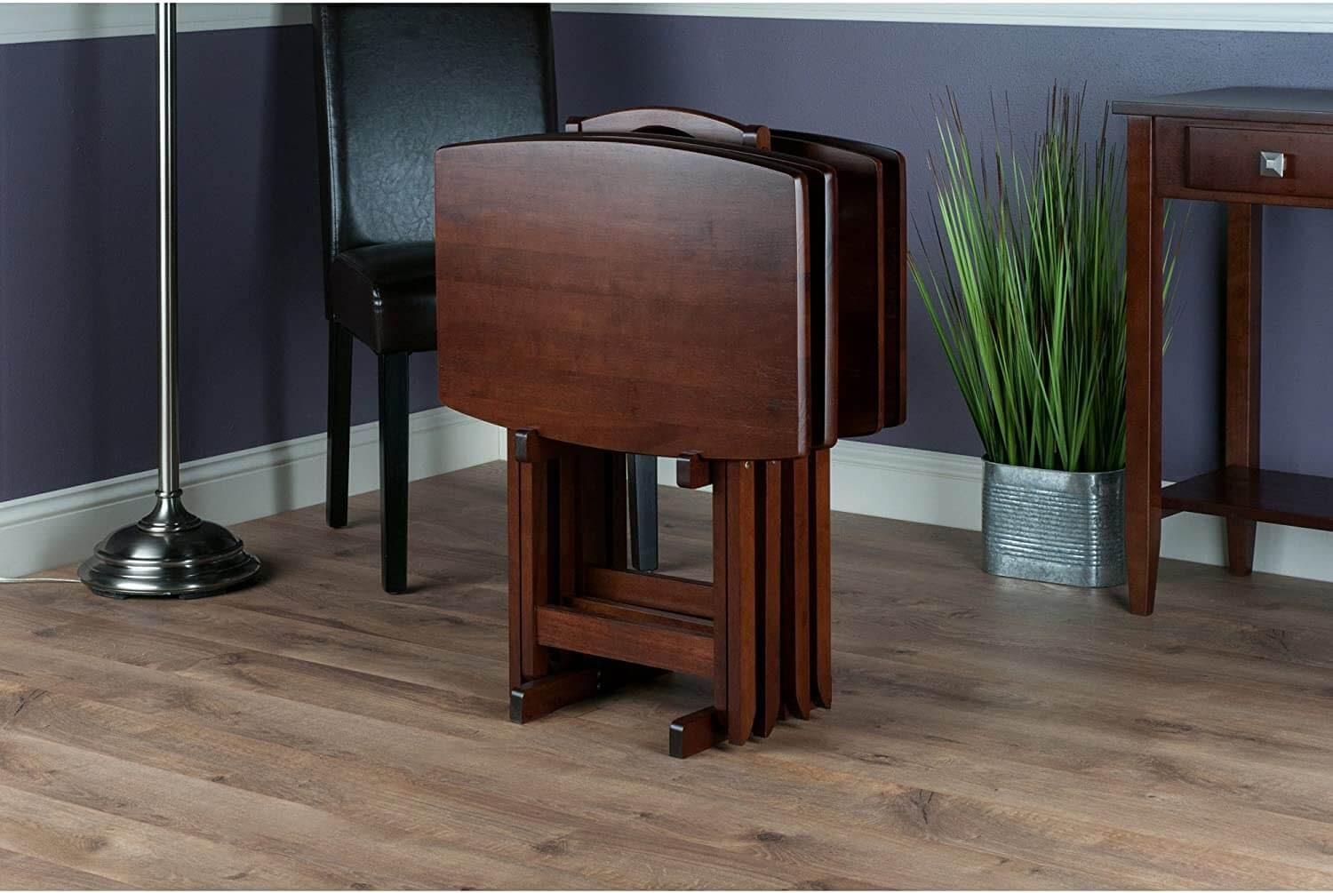 Fold up table in a dining room