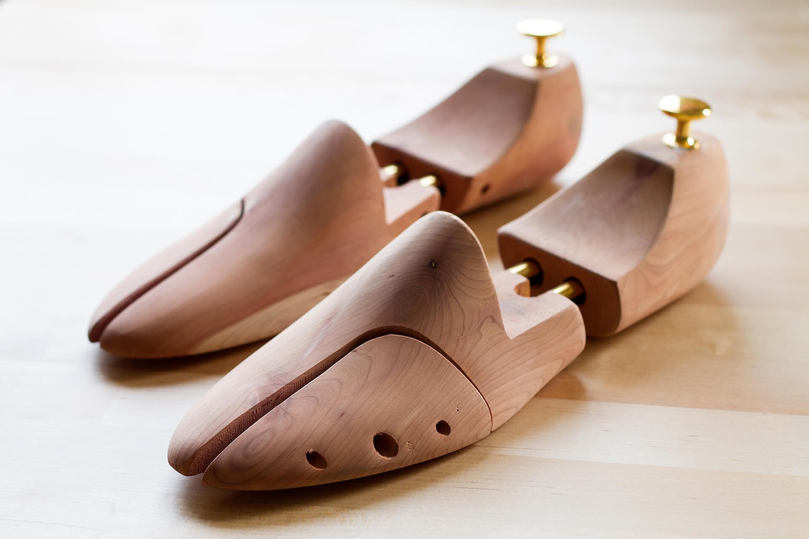 Pair of wooden shoe tree
