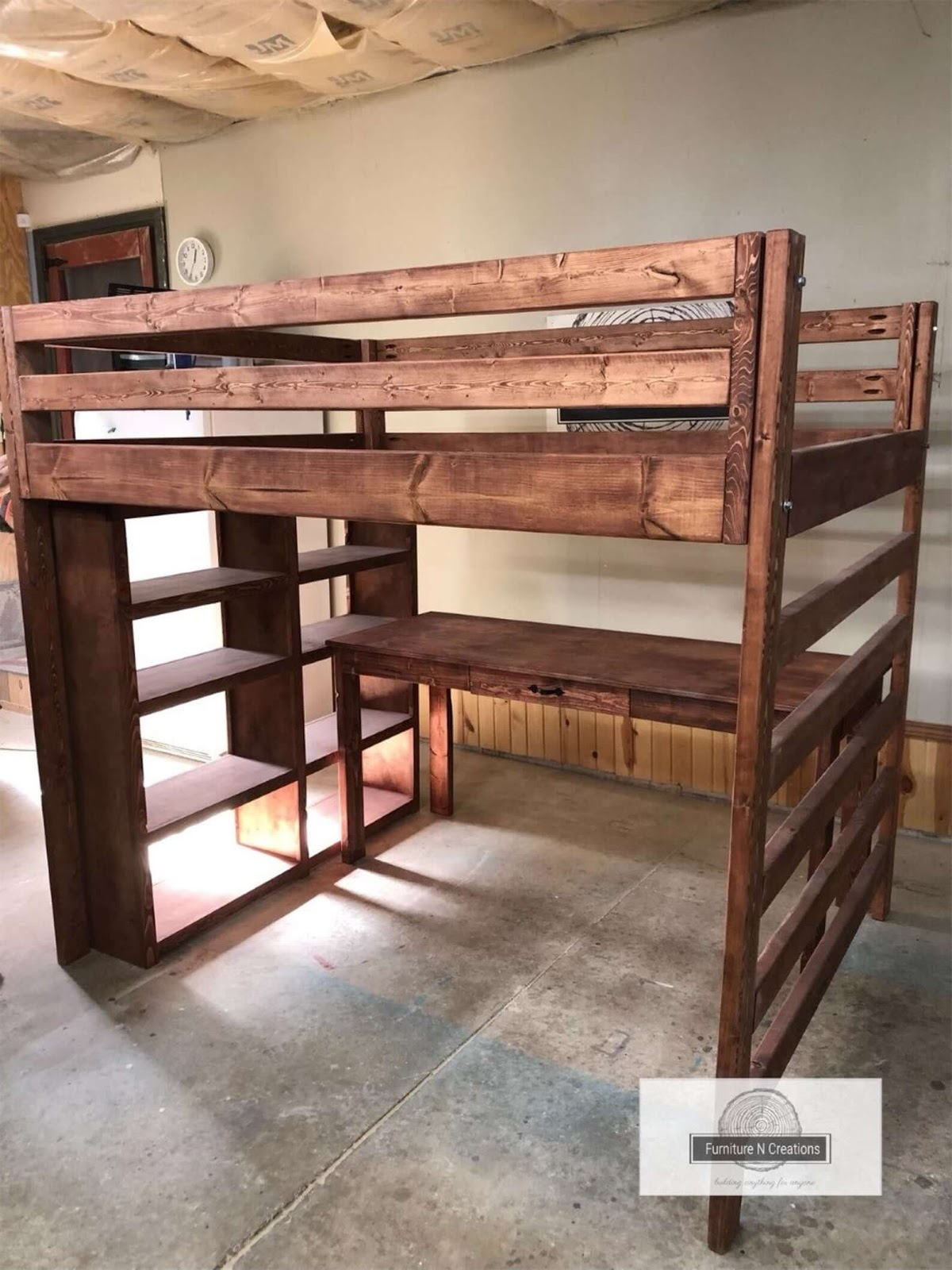 FurnitureNCreations Full Loft bed with desk