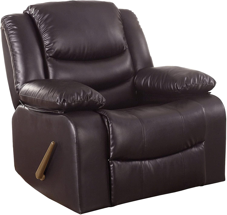 Divano Roma Furniture Bonded Leather Rocker Recliner