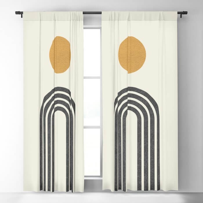 Modern, geometric designed blackout curtains