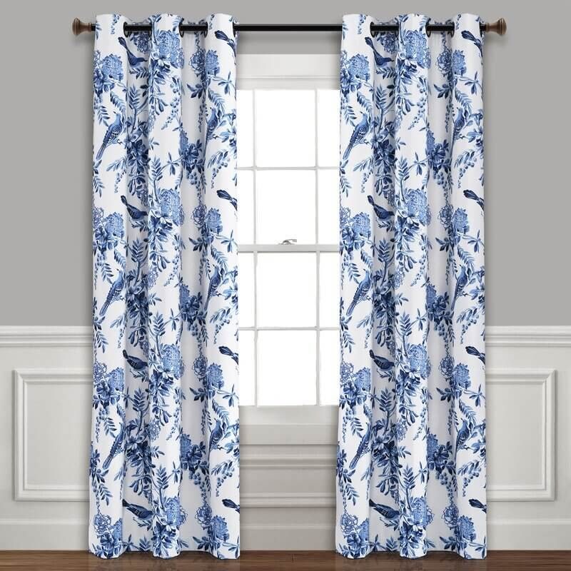 Blue and white paisley curtains