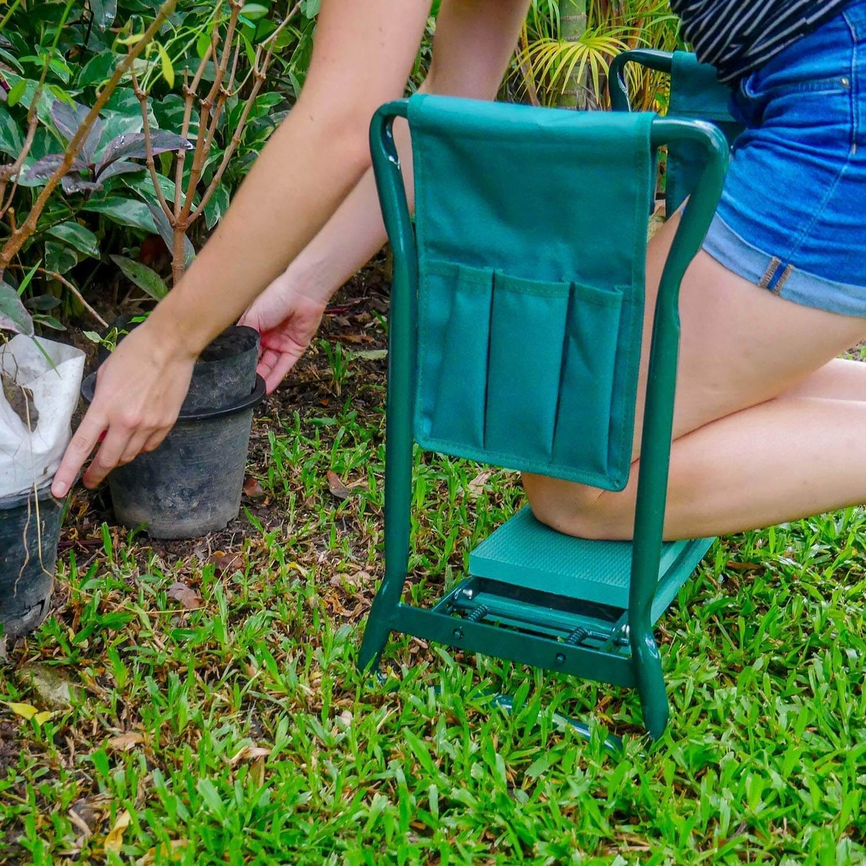 Woman using a kneeling pad outside