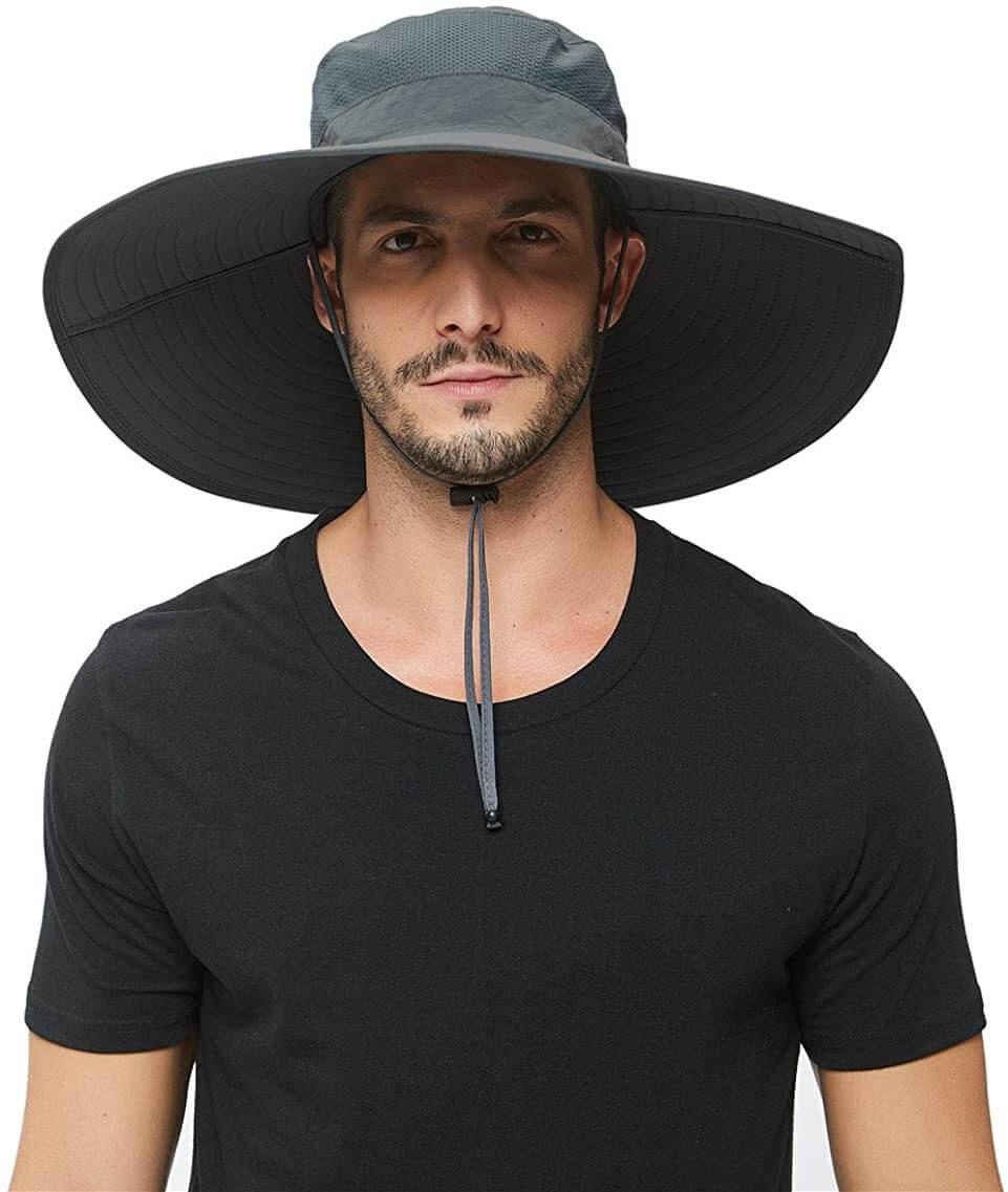 Man in a wide-brimmed garden hat