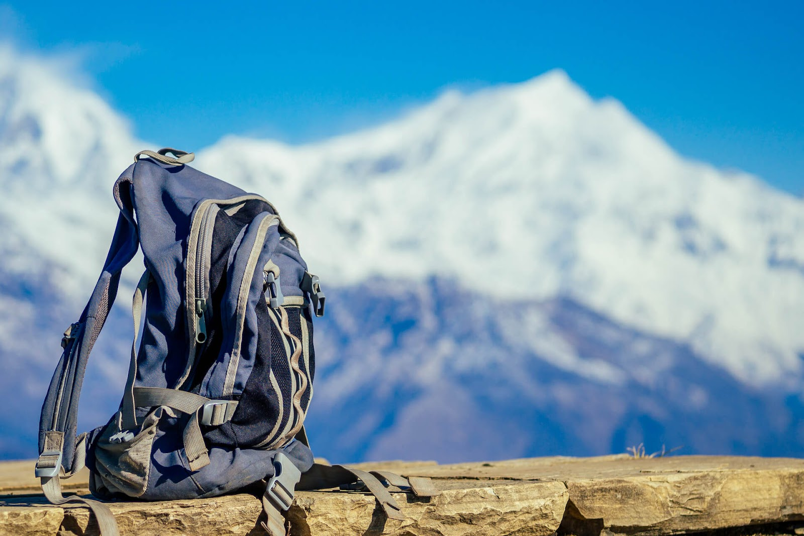 Backpack on a mountain