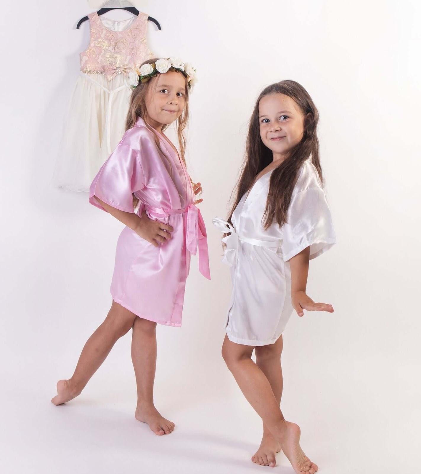 Flower girl satin robe