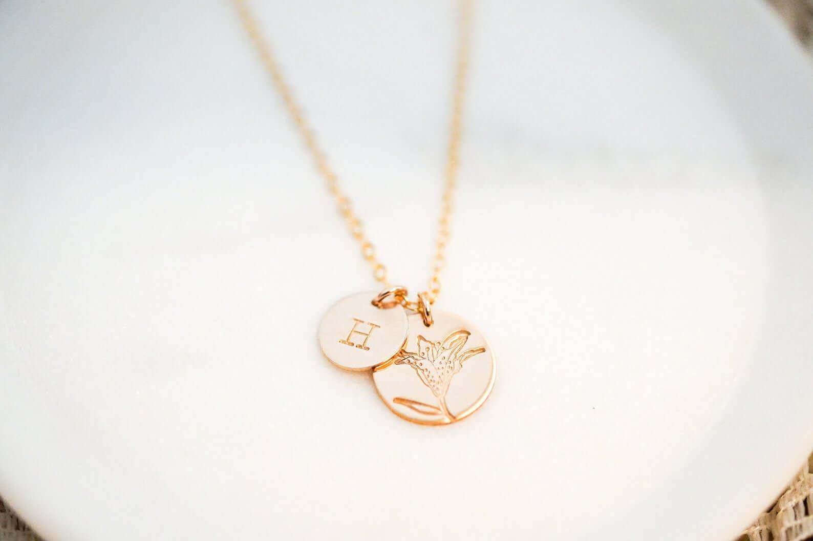Flower Girl Engraved Necklace