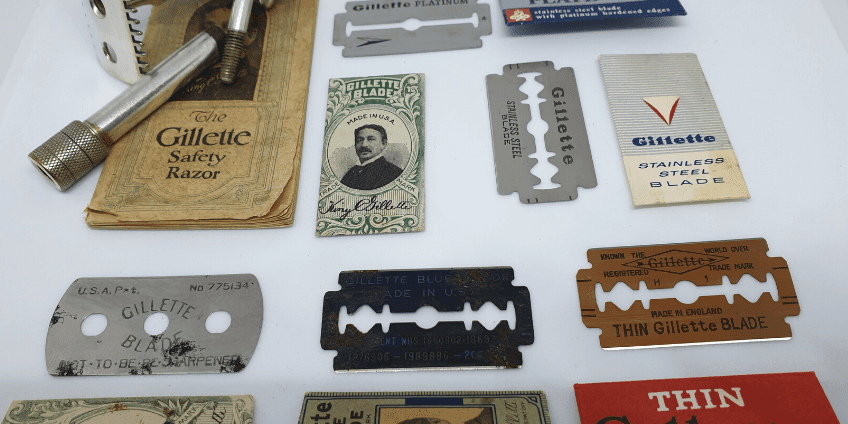 Photo of old school razors and razor blades from Gillette