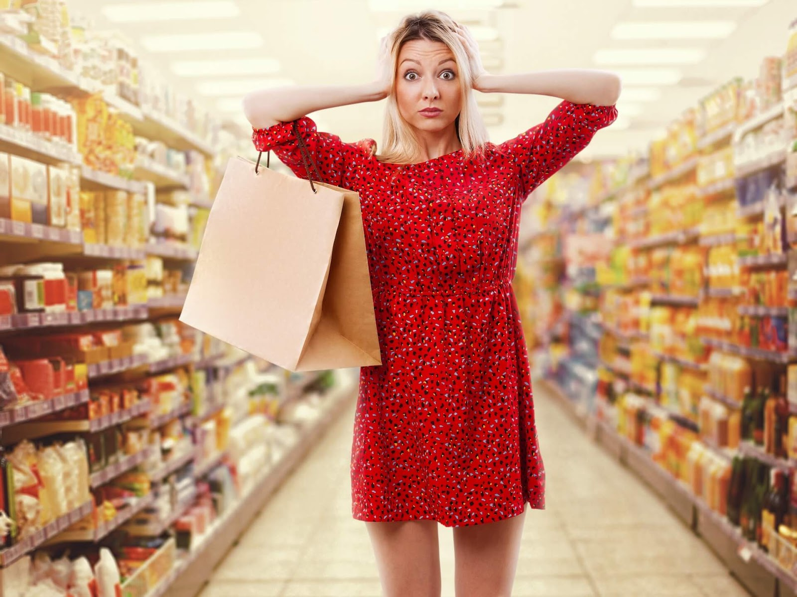 Woman looking frazzled in a grocery store