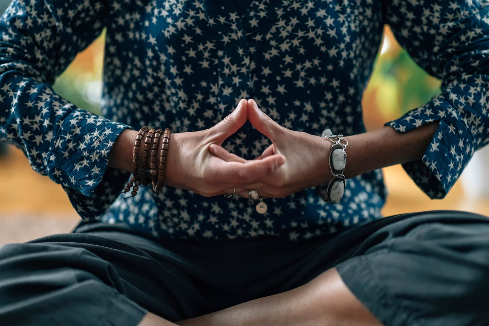 Hand placement to open your throat chakra