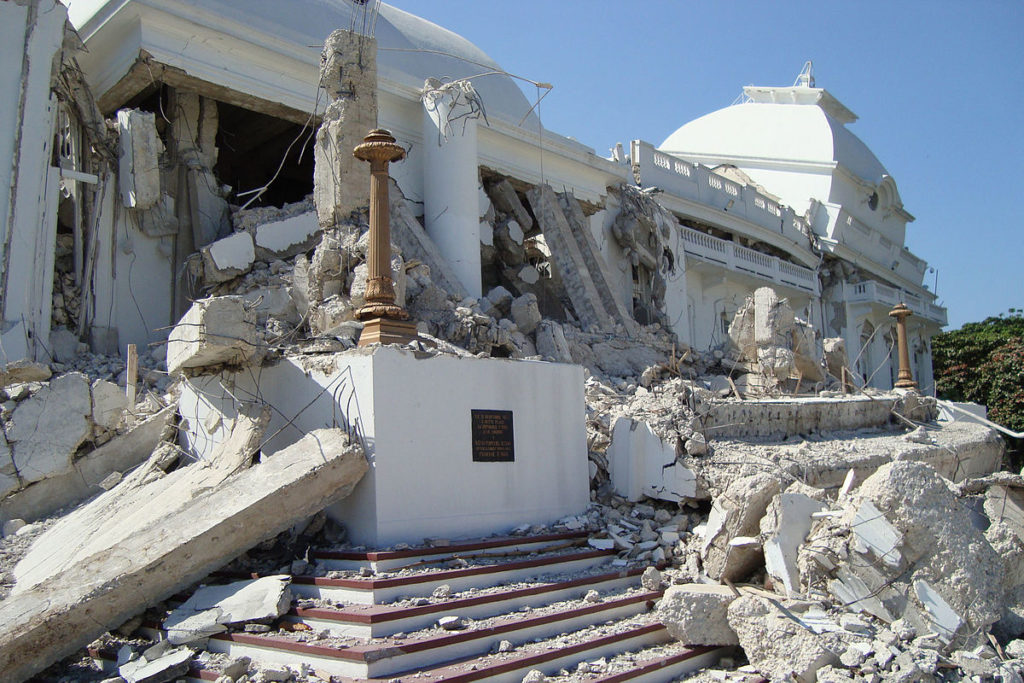 Photograph of the rubble of the Haiti Presidential Palace in 2010 after a major earthquake
