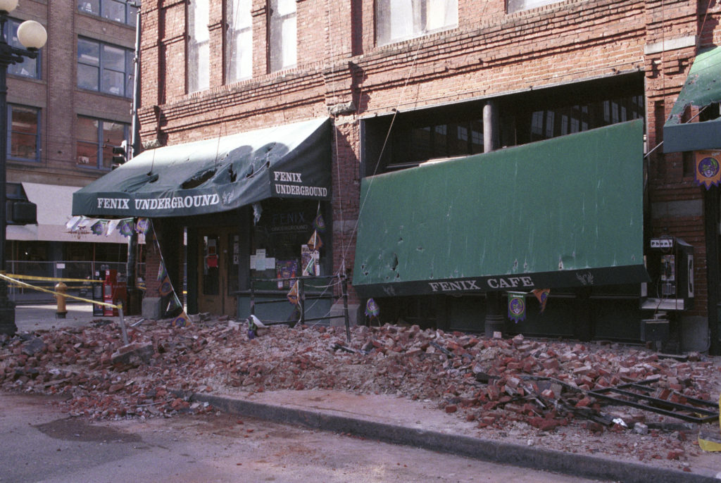 Photograph of substantial damage to Seattle's Pioneer Square can be seen in this photo of the aftermath of the 2001 Nisqually Earthquake