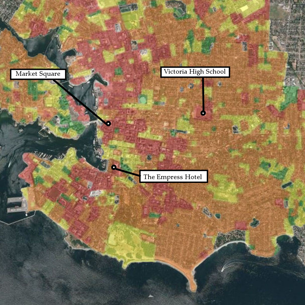 Map showing earthquake damage map of Victoria in a worst case scenario