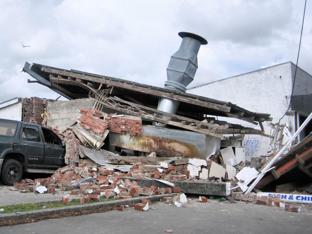Photograph showing the ruins of a Christchurch fish and chips shop destroyed by the earthquake.