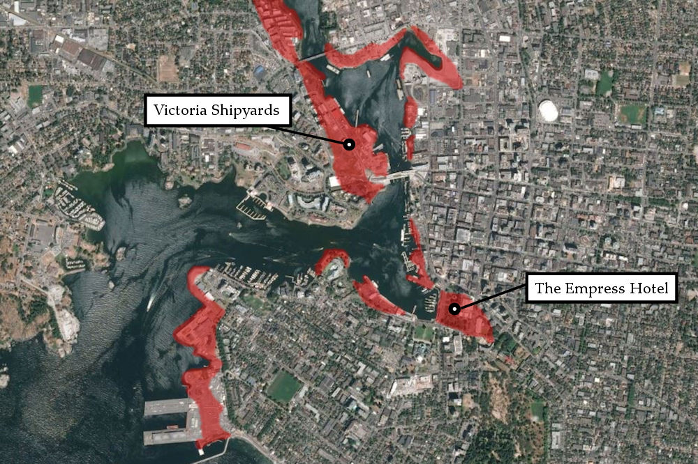 Map showing Victoria's highest-risk areas for liquefaction. (Credit: Photo illustration by The Capital layering B.C. Geological Survey Branch data over satellite image)