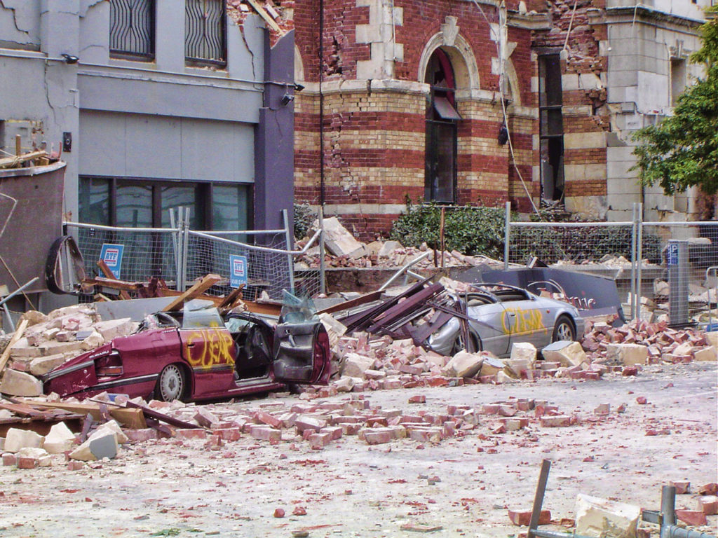 Photograph showing Christchurch street immediately after the February 22, 2011 earthquake