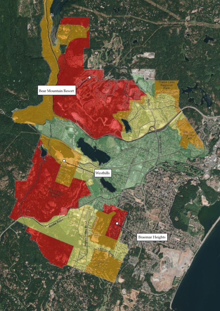 Composition showing Langford's 2002 fire risk map overlaid on a contemporary satellite image of West Shore.