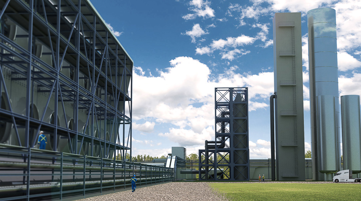 Computer rendering of large industrial facilities at Direct Air Capture plant.