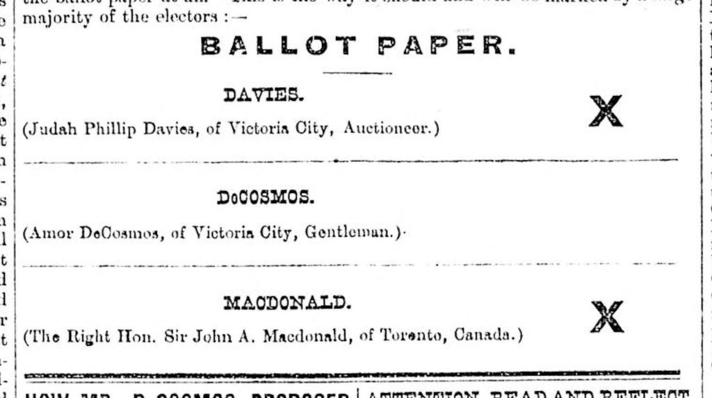 Ballot paper close-up with 3 names and 2 x marks.