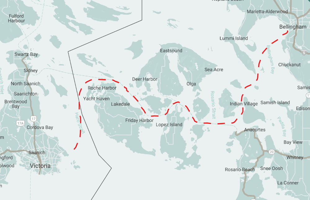 A red dashed lien depicting the route likely followed by Adam Kreek between Victoria and Bellingham.
