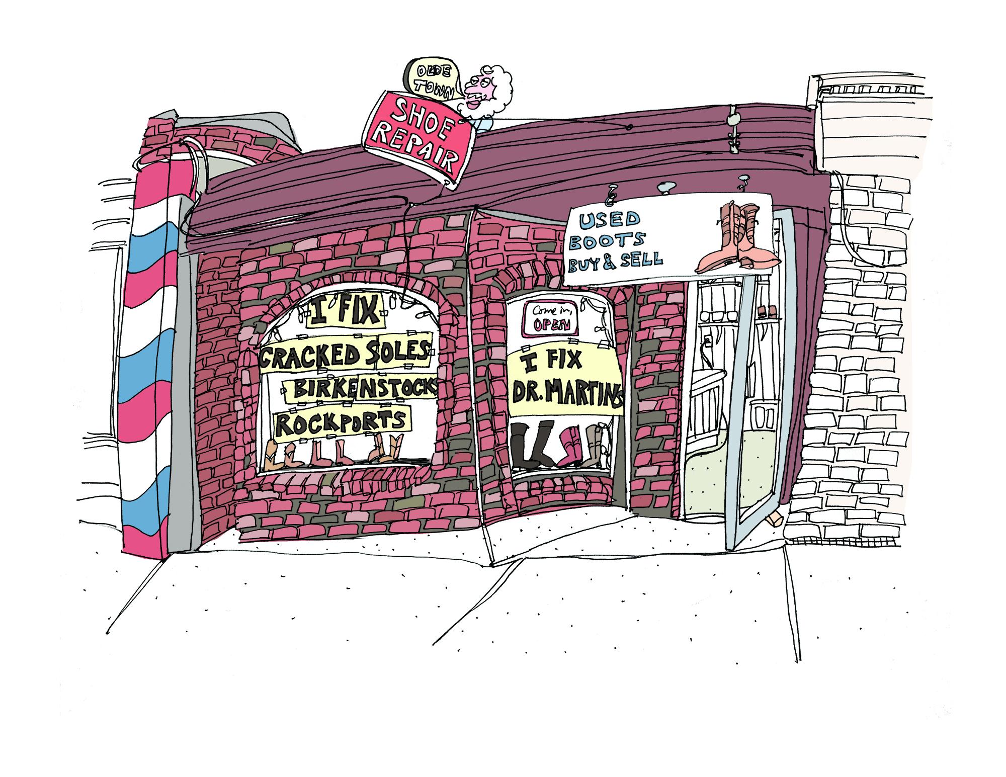 Drawing of Olde Town Shoe Repair storefront