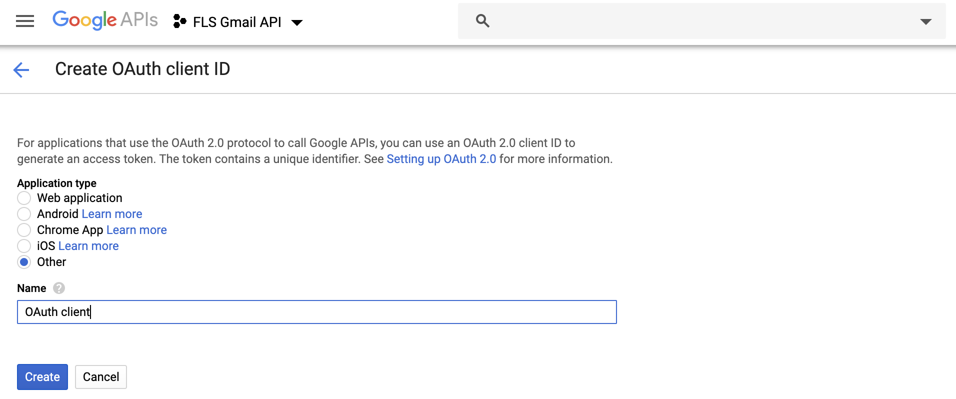 Create OAuth Client Id