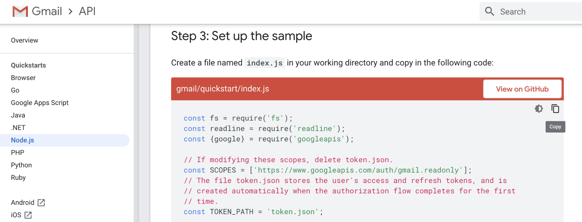 Gmail API Sample