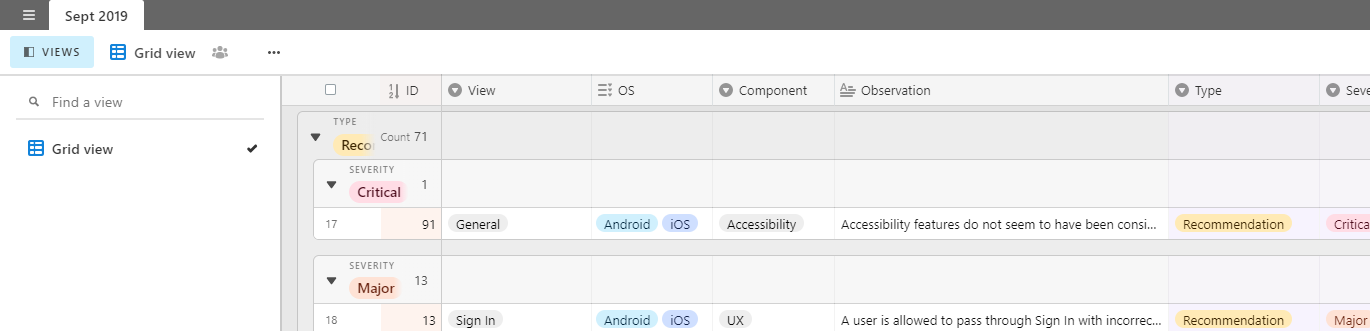Shows the Airtable interface along with an example of testing results / content