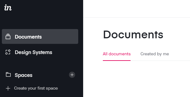 Shows the Invision interface, including area navigation bar on the left and the corresponding document area on the right