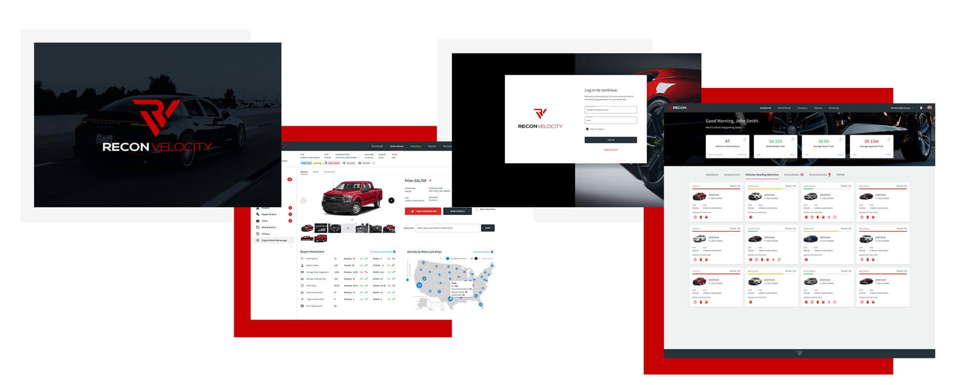 Various ReconVelocity screenshots from the web app.