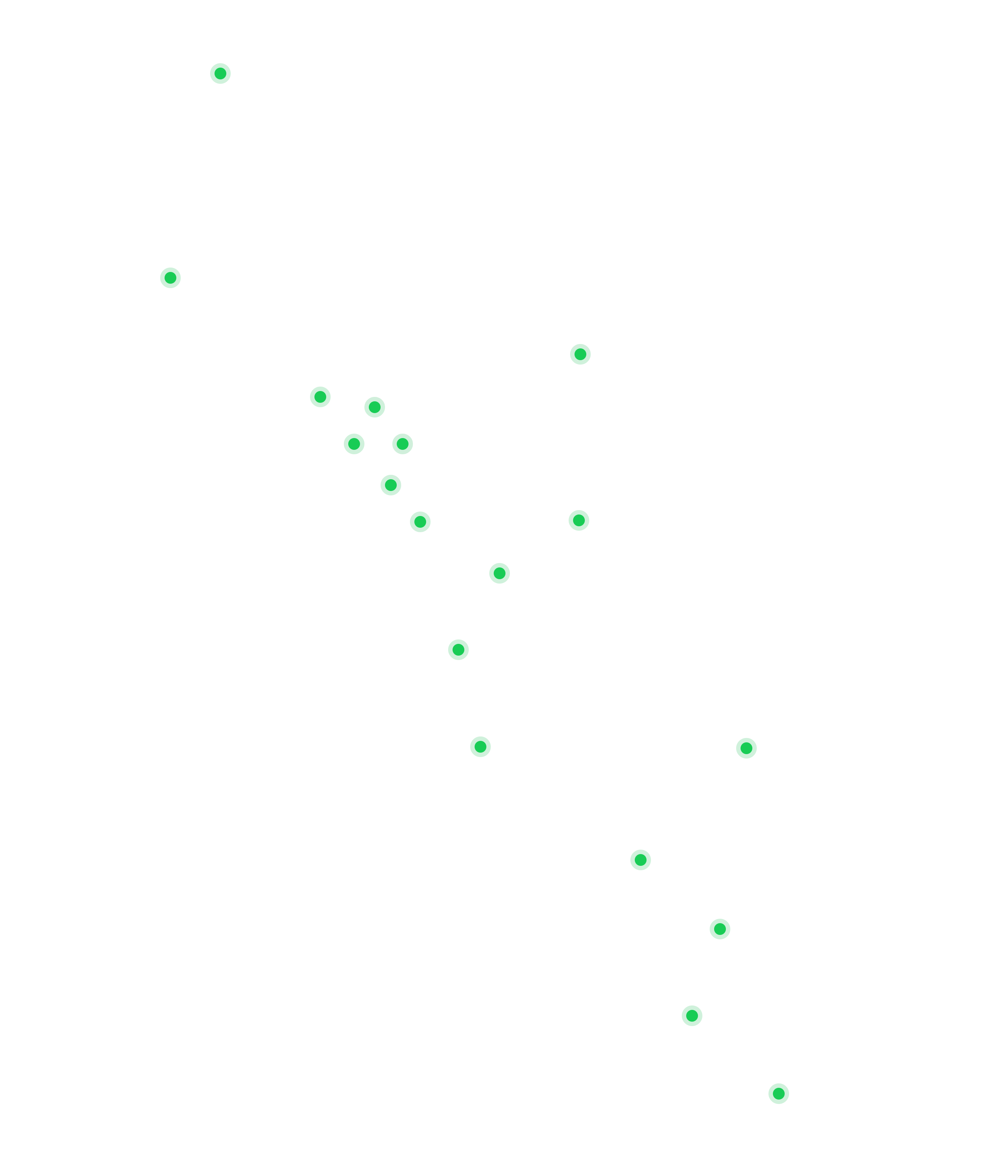 America continent map with Fullstack Labs members' locations highlighted in green spot.
