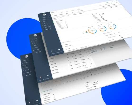 Desktop screens shown as slices from a top angle.