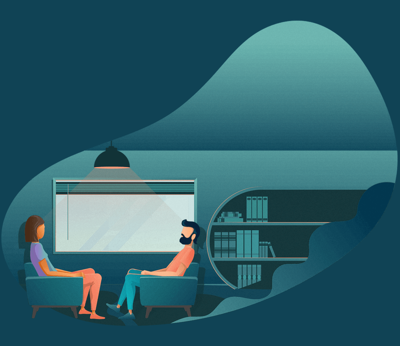 person having therapy session with counselor