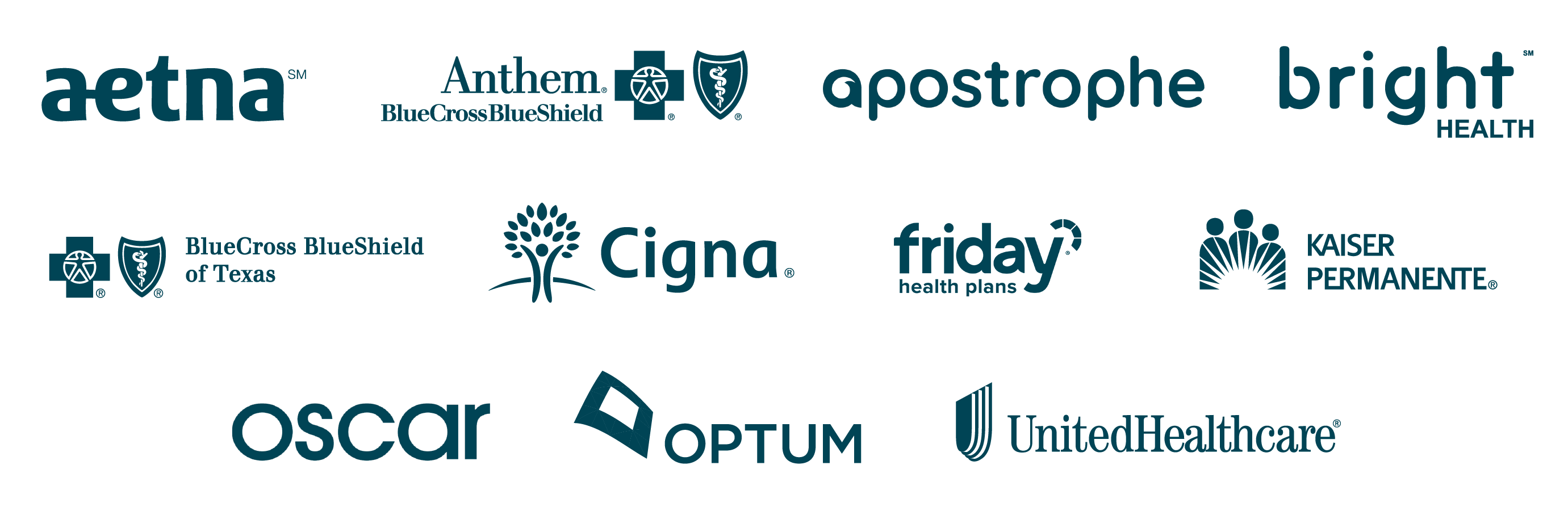 Aetna, Anthem, BlueCross BlueShield, Cigna, and United Healthcare insurance logos.