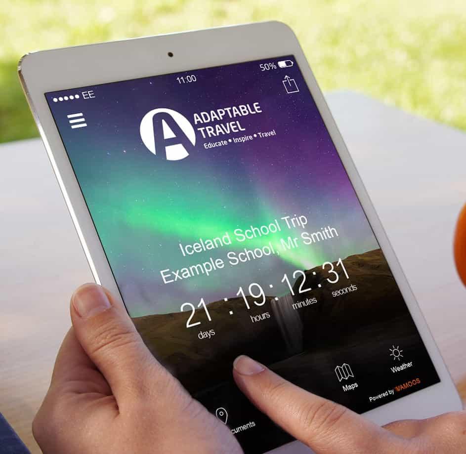 vamoos travel app on an ipad for educational tours for teachers