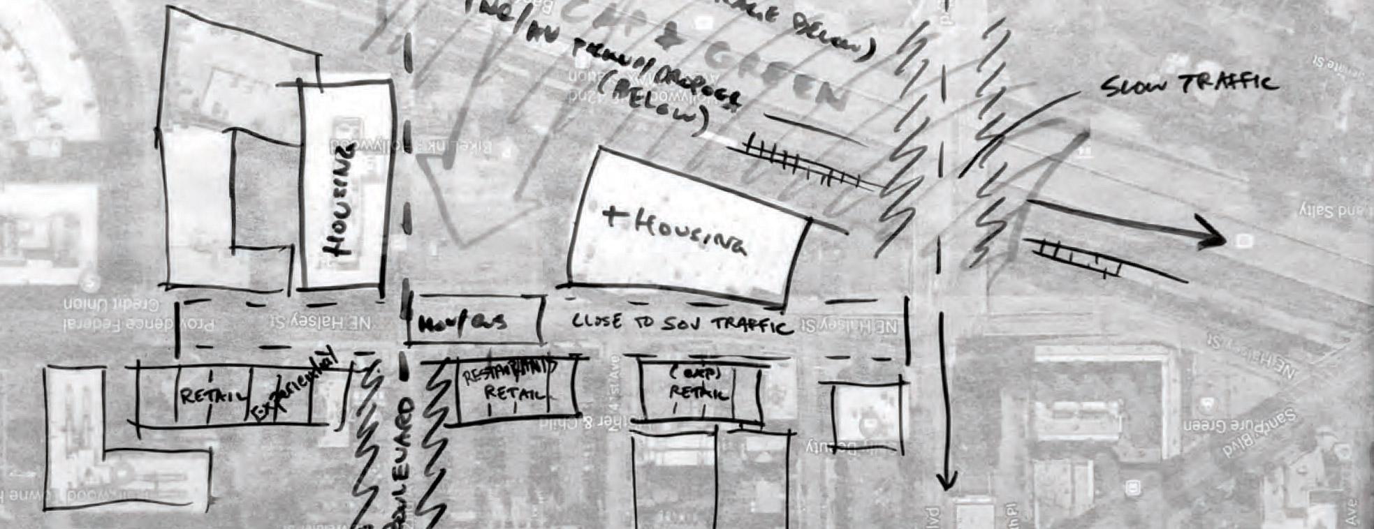 Sketch of new buildings