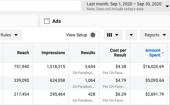 facebook-ads-performance-for-lead-generation-campaigns-screenshot