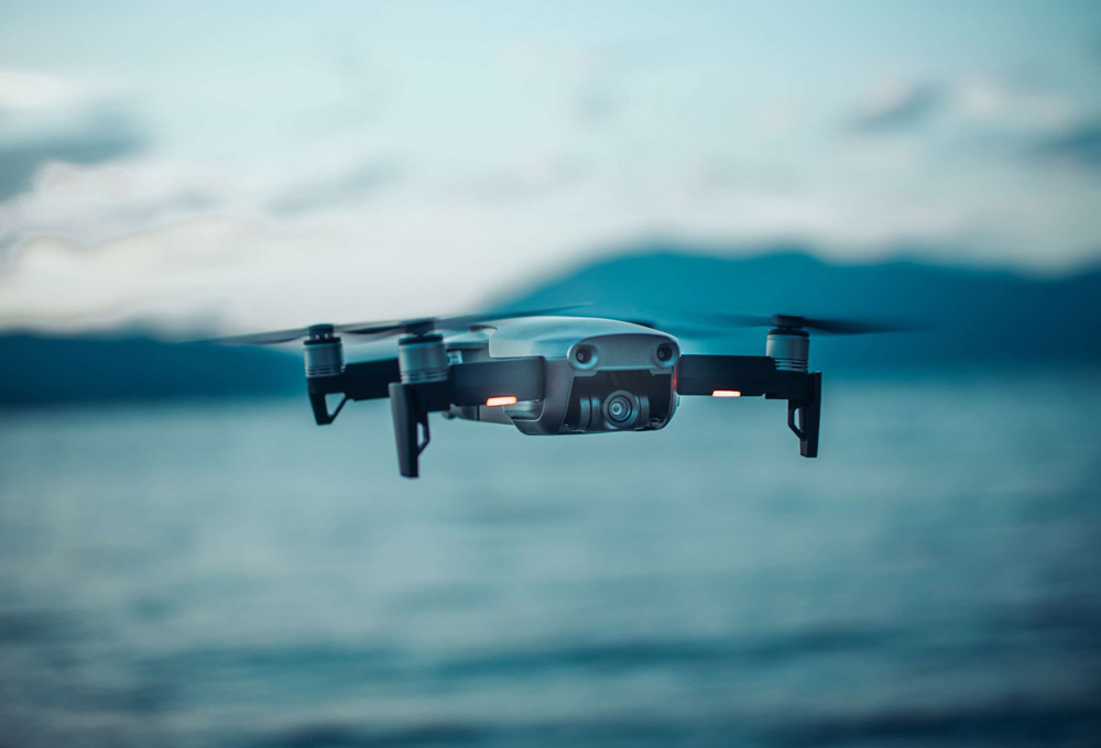 Aerial drone flying over water