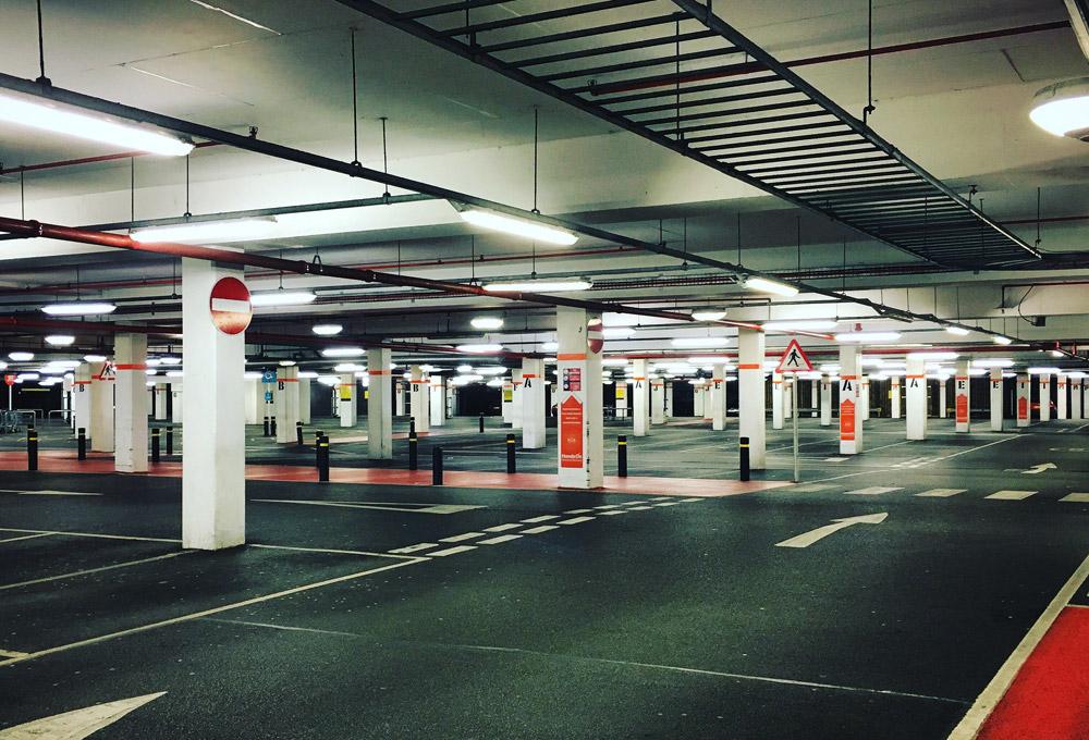 Empty underground parking garage in London