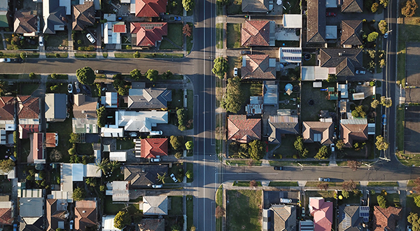 Aerial view of streets going through a suburban neighborhood