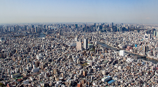 Aerial view of Tokyo with clear sky
