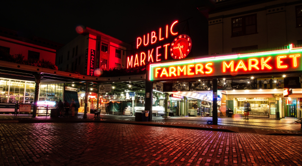 Pike Place Market in Seattle at night
