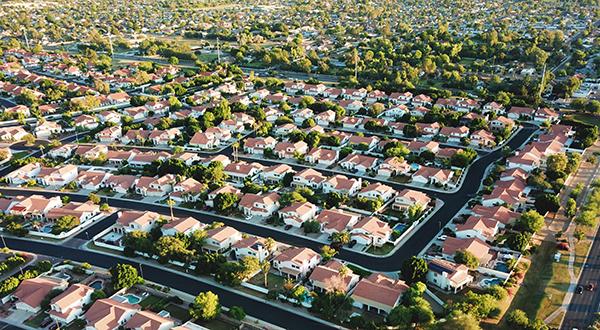 Aerial photo of suburban neighborhood