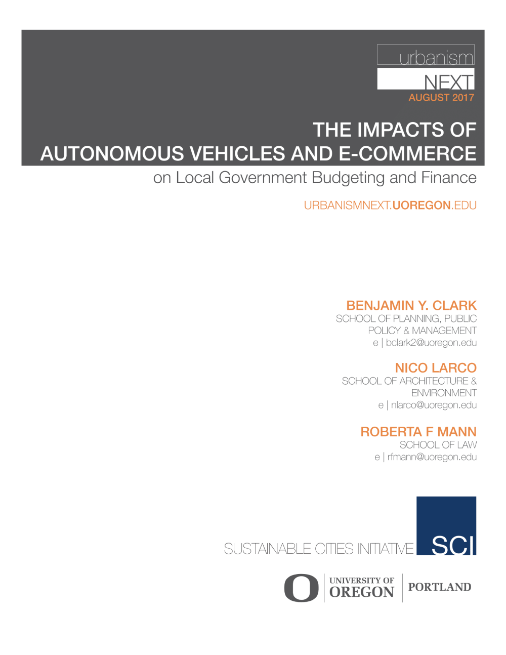 The Impacts of Autonomous Vehicles and E-commerce on Local Government Budgeting and Finance