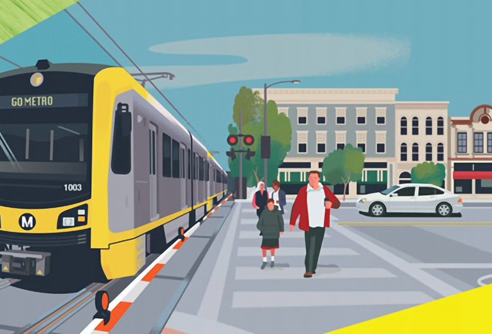 graphic of people walking next to a light rail with buildings in the background